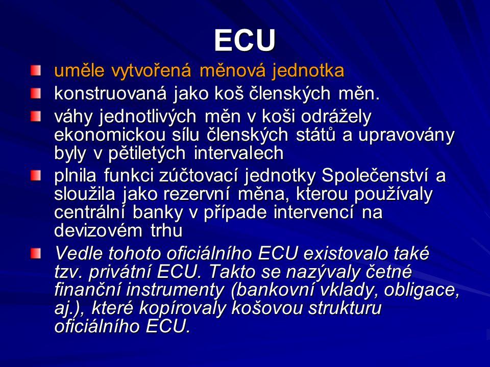 ECU uměle vytvořená měnová jednotka konstruovaná jako koš členských měn. váhy jednotlivých měn v koši odrážely ekonomickou sílu členských států a upra