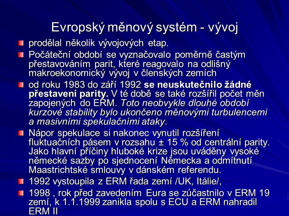 Evropský měnový systém - vývoj prodělal několik vývojových etap. Počáteční období se vyznačovalo poměrně častým přestavováním parit, které reagovalo n