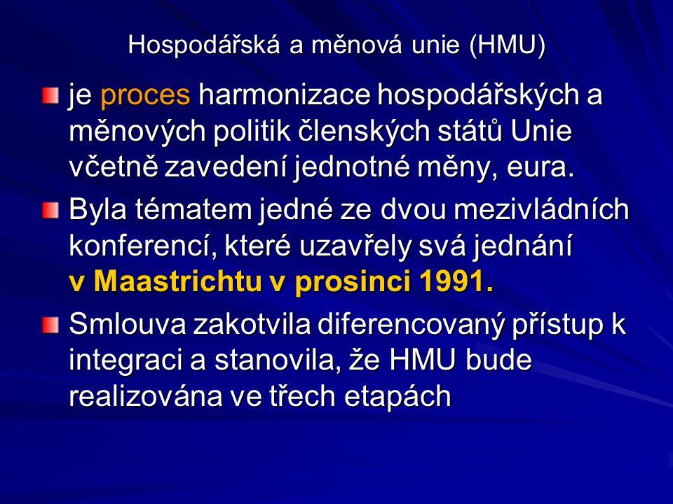 Hospodářská a měnová unie (HMU) je proces harmonizace hospodářských a měnových politik členských států Unie včetně zavedení jednotné měny, eura. Byla