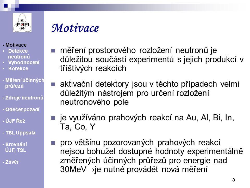 4 Detekce neutronů - Motivace Detekce neutronů Vyhodnocení Korekce - Měření účinných průřezů - Zdroje neutronů - Odečet pozadí - ÚJF Řež - TSL Uppsala - Srovnání ÚJF, TSL - Závěr AlAuBiCoIn Ta Reakce E thresh [MeV] Poločas rozpadu 197 Au (n,2n) 196 Au8.16.183 d 197 Au (n,3n) 195 Au14.8 186.1 d 197 Au (n,4n) 194 Au23.238.02 h 209 Bi (n,3n) 207 Bi14.4231.56 l 209 Bi (n,4n) 206 Bi22.556.243 d 115 In (n,2n) 114 In9.121.2 min