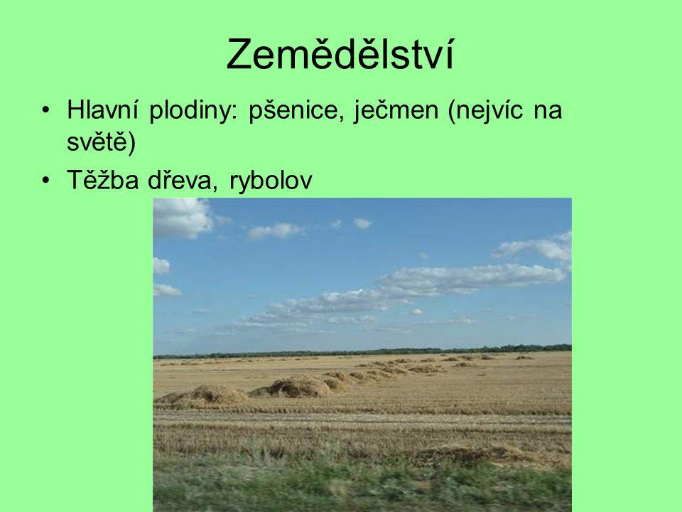 Zemědělství Hlavní plodiny: pšenice, ječmen (nejvíc na světě) Těžba dřeva, rybolov