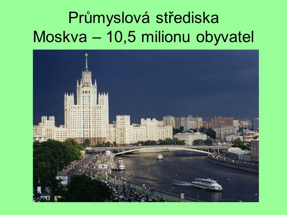 Průmyslová střediska Moskva – 10,5 milionu obyvatel