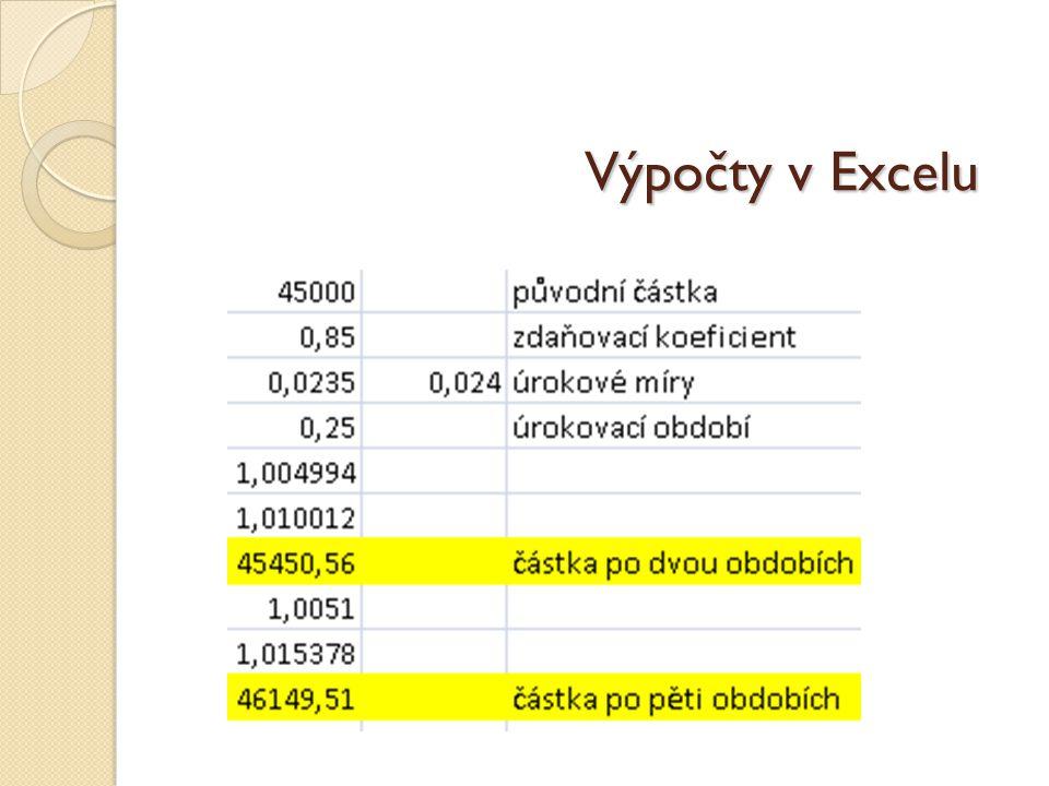 Výpočty v Excelu