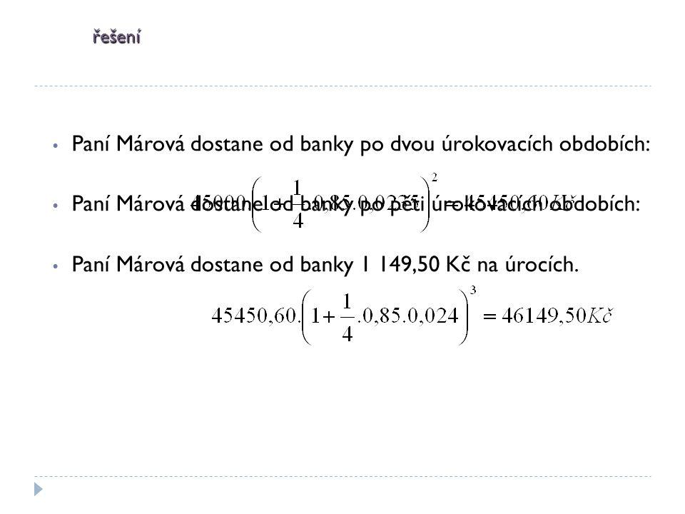 Paní Márová dostane od banky po dvou úrokovacích obdobích: Paní Márová dostane od banky po pěti úrokovacích obdobích: Paní Márová dostane od banky 1 149,50 Kč na úrocích.