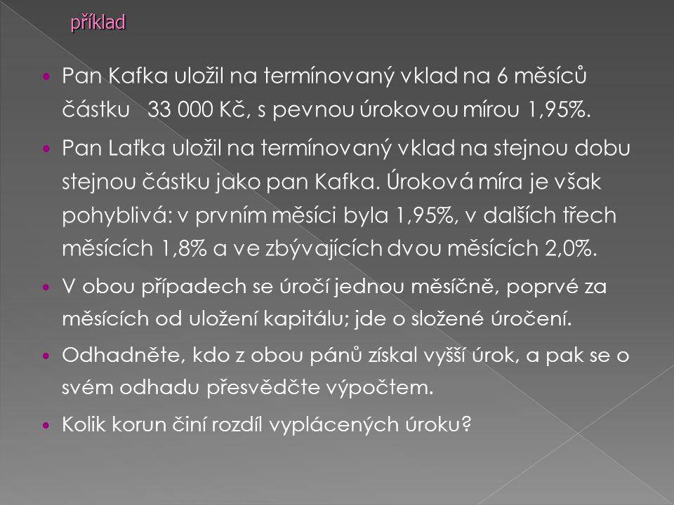 Pan Kafka uložil na termínovaný vklad na 6 měsíců částku 33 000 Kč, s pevnou úrokovou mírou 1,95%.