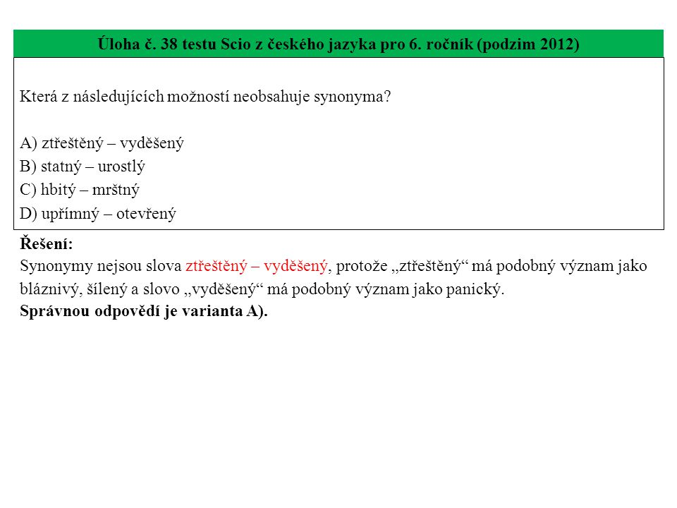 Úloha č.39 testu Scio z českého jazyka pro 6.