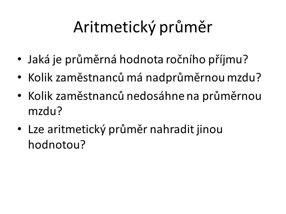 Aritmetický průměr Jaká je průměrná hodnota ročního příjmu.