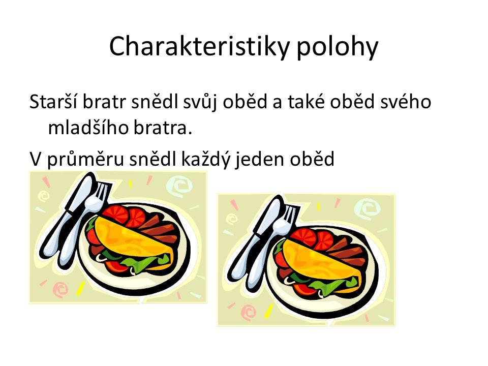 Charakteristiky polohy Starší bratr snědl svůj oběd a také oběd svého mladšího bratra. V průměru snědl každý jeden oběd