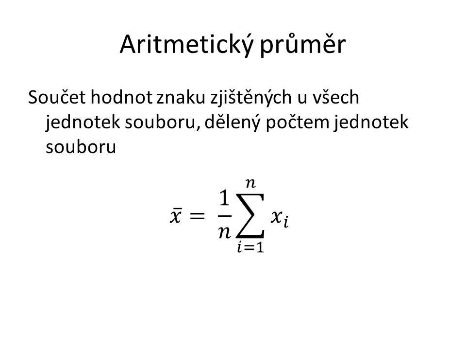Aritmetický průměr Součet hodnot znaku zjištěných u všech jednotek souboru, dělený počtem jednotek souboru