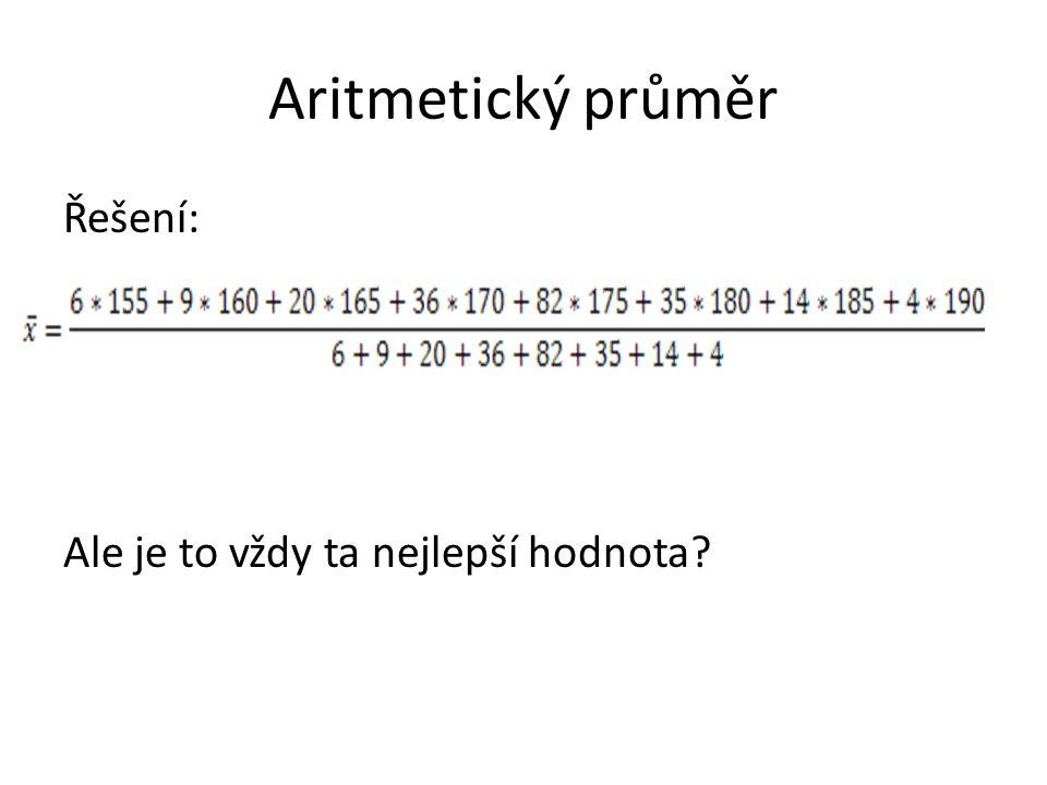 Aritmetický průměr Řešení: Ale je to vždy ta nejlepší hodnota?