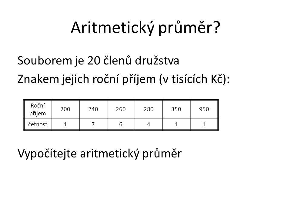 Aritmetický průměr? Souborem je 20 členů družstva Znakem jejich roční příjem (v tisících Kč): Vypočítejte aritmetický průměr Roční příjem 200240260280