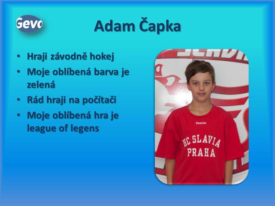 Adam Čapka Hraji závodně hokej Hraji závodně hokej Moje oblíbená barva je zelená Moje oblíbená barva je zelená Rád hraji na počítači Rád hraji na počí