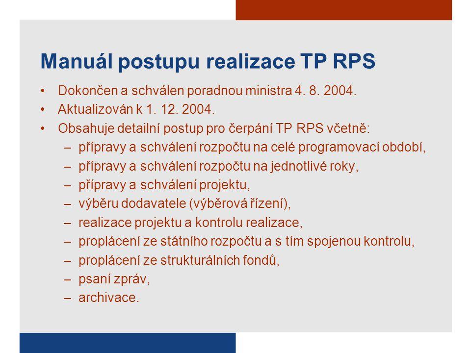 Manuál postupu realizace TP RPS Dokončen a schválen poradnou ministra 4. 8. 2004. Aktualizován k 1. 12. 2004. Obsahuje detailní postup pro čerpání TP