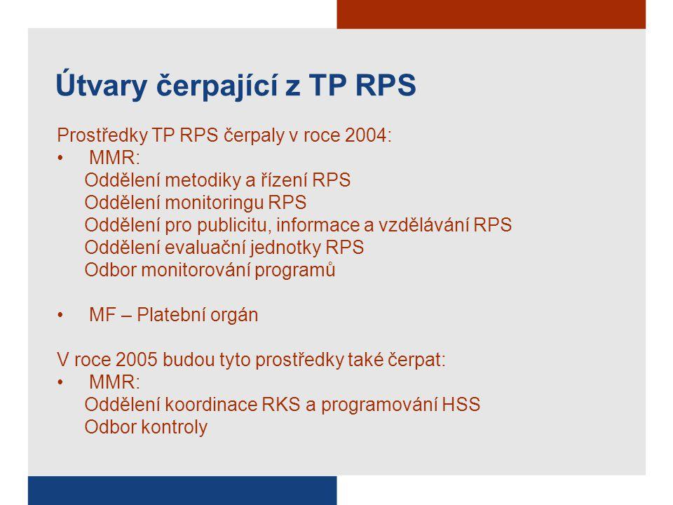 Útvary čerpající z TP RPS Prostředky TP RPS čerpaly v roce 2004: MMR: Oddělení metodiky a řízení RPS Oddělení monitoringu RPS Oddělení pro publicitu,