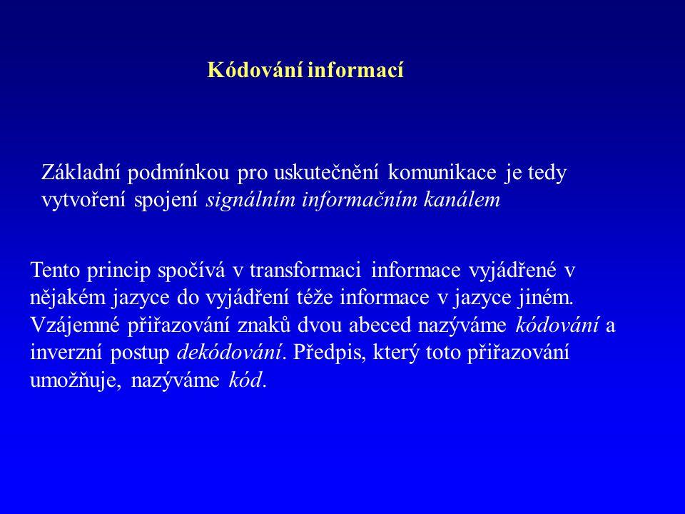 Kódování informací Základní podmínkou pro uskutečnění komunikace je tedy vytvoření spojení signálním informačním kanálem Tento princip spočívá v trans