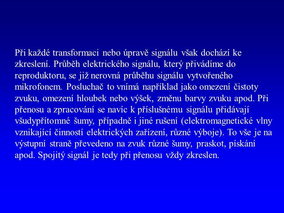 Při každé transformaci nebo úpravě signálu však dochází ke zkreslení. Průběh elektrického signálu, který přivádíme do reproduktoru, se již nerovná prů