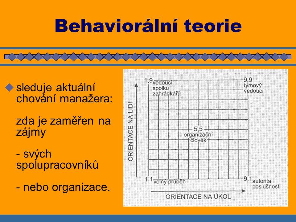 Behaviorální teorie  sleduje aktuální chování manažera: zda je zaměřen na zájmy - svých spolupracovníků - nebo organizace.