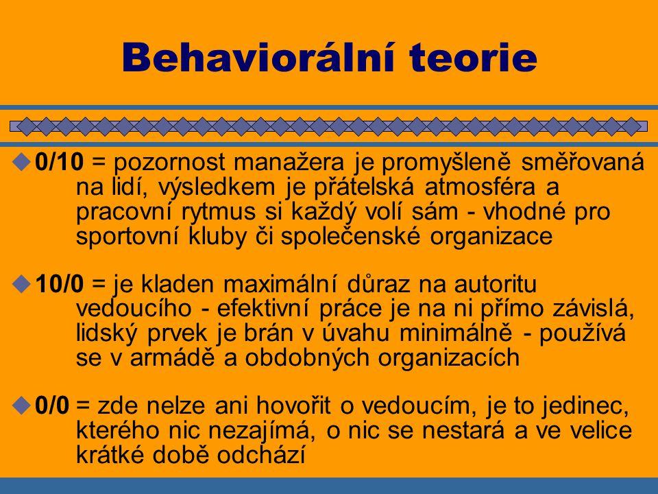 Behaviorální teorie  0/10 = pozornost manažera je promyšleně směřovaná na lidí, výsledkem je přátelská atmosféra a pracovní rytmus si každý volí sám - vhodné pro sportovní kluby či společenské organizace  10/0 = je kladen maximální důraz na autoritu vedoucího - efektivní práce je na ni přímo závislá, lidský prvek je brán v úvahu minimálně - používá se v armádě a obdobných organizacích  0/0= zde nelze ani hovořit o vedoucím, je to jedinec, kterého nic nezajímá, o nic se nestará a ve velice krátké době odchází
