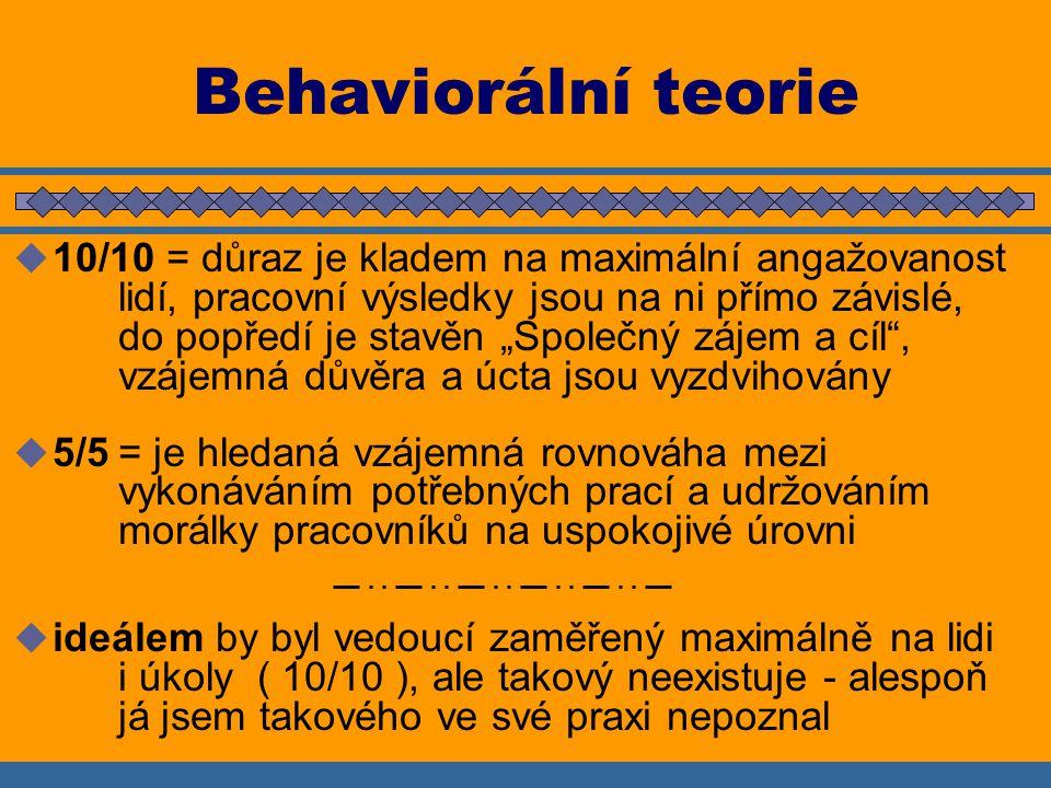 """Behaviorální teorie  10/10 = důraz je kladem na maximální angažovanost lidí, pracovní výsledky jsou na ni přímo závislé, do popředí je stavěn """"Společný zájem a cíl , vzájemná důvěra a úcta jsou vyzdvihovány  5/5= je hledaná vzájemná rovnováha mezi vykonáváním potřebných prací a udržováním morálky pracovníků na uspokojivé úrovni  ideálem by byl vedoucí zaměřený maximálně na lidi i úkoly ( 10/10 ), ale takový neexistuje - alespoň já jsem takového ve své praxi nepoznal"""