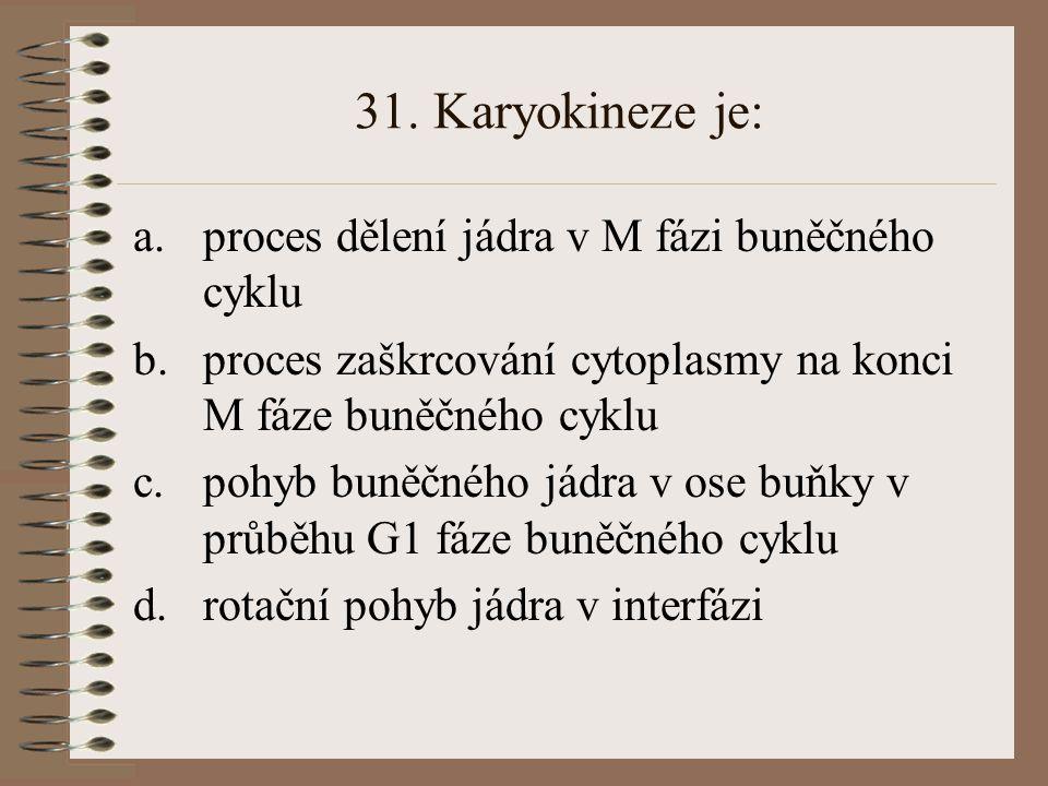 31. Karyokineze je: a.proces dělení jádra v M fázi buněčného cyklu b.proces zaškrcování cytoplasmy na konci M fáze buněčného cyklu c.pohyb buněčného j