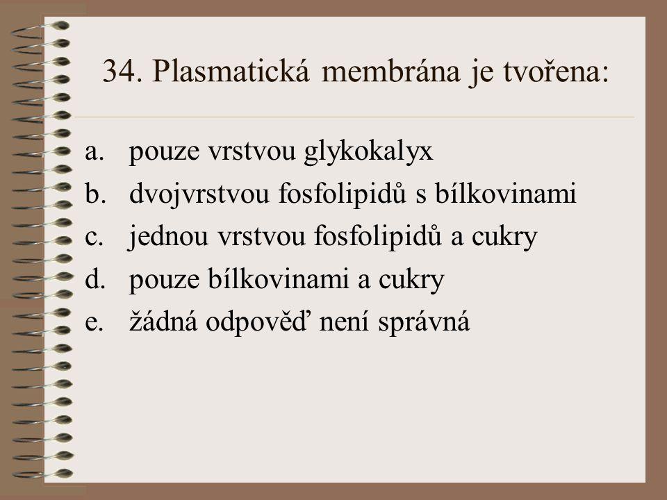 34. Plasmatická membrána je tvořena: a.pouze vrstvou glykokalyx b.dvojvrstvou fosfolipidů s bílkovinami c.jednou vrstvou fosfolipidů a cukry d.pouze b