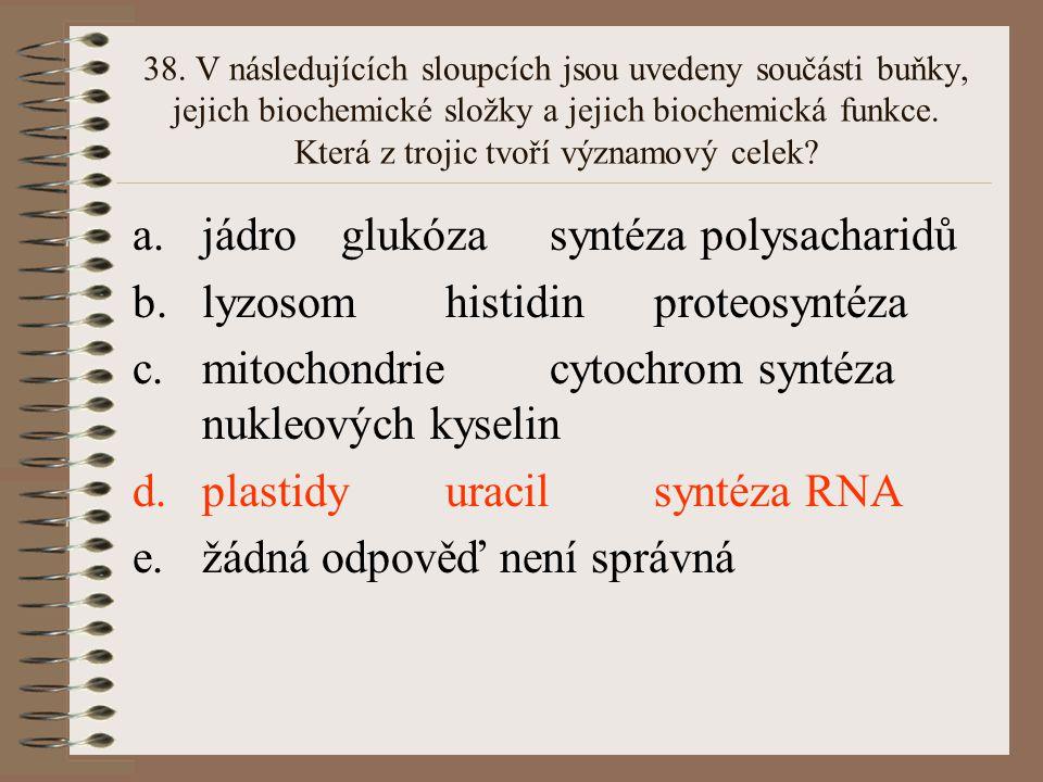 38. V následujících sloupcích jsou uvedeny součásti buňky, jejich biochemické složky a jejich biochemická funkce. Která z trojic tvoří významový celek