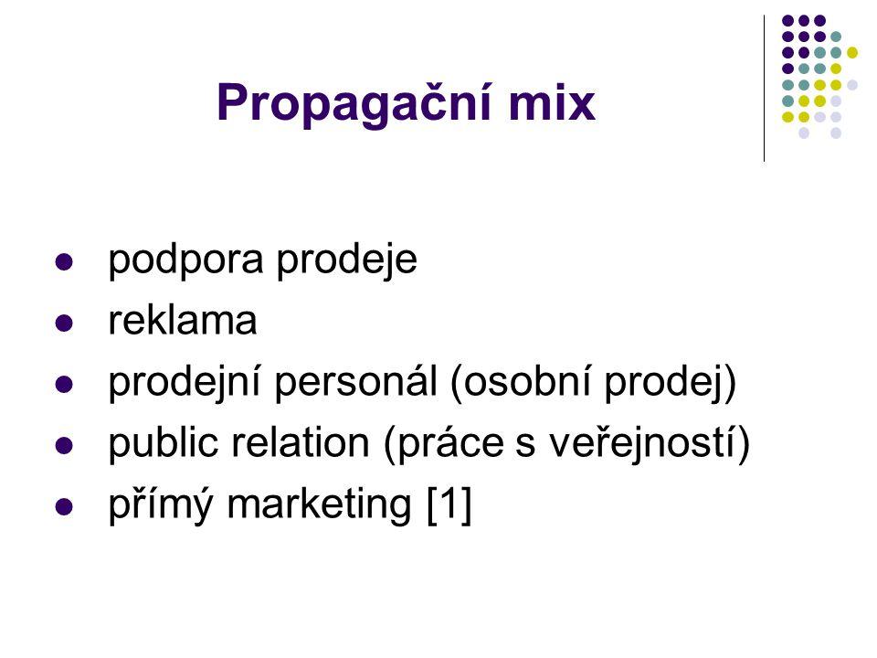 Propagační mix podpora prodeje reklama prodejní personál (osobní prodej) public relation (práce s veřejností) přímý marketing [1]
