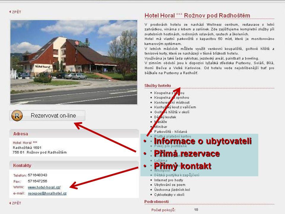Informace o ubytovateliInformace o ubytovateli Přímá rezervacePřímá rezervace Přímý kontaktPřímý kontakt