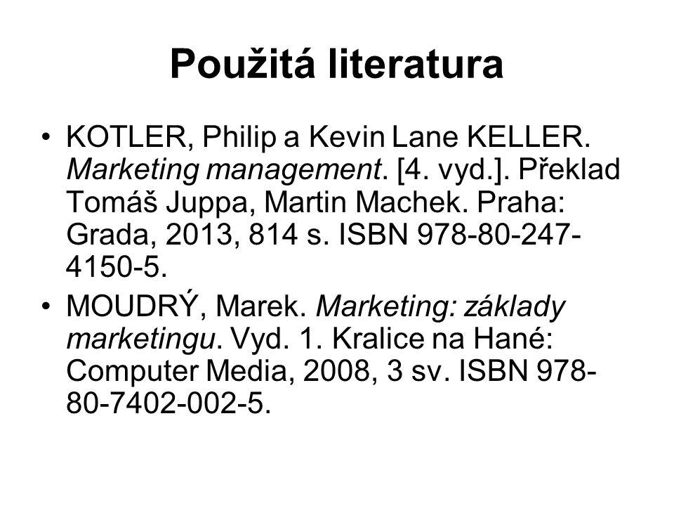 Použitá literatura KOTLER, Philip a Kevin Lane KELLER.