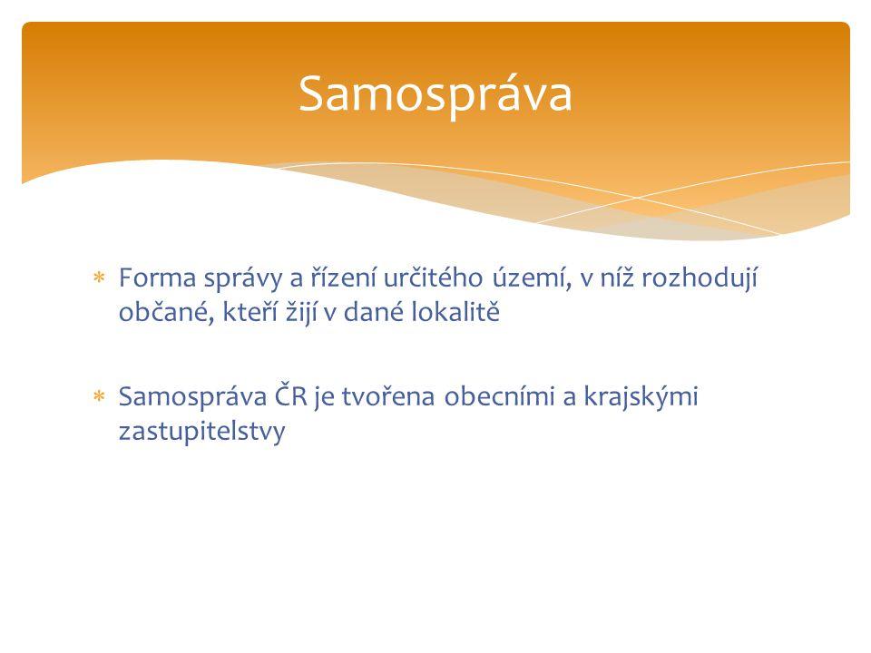  Forma správy a řízení určitého území, v níž rozhodují občané, kteří žijí v dané lokalitě  Samospráva ČR je tvořena obecními a krajskými zastupitels