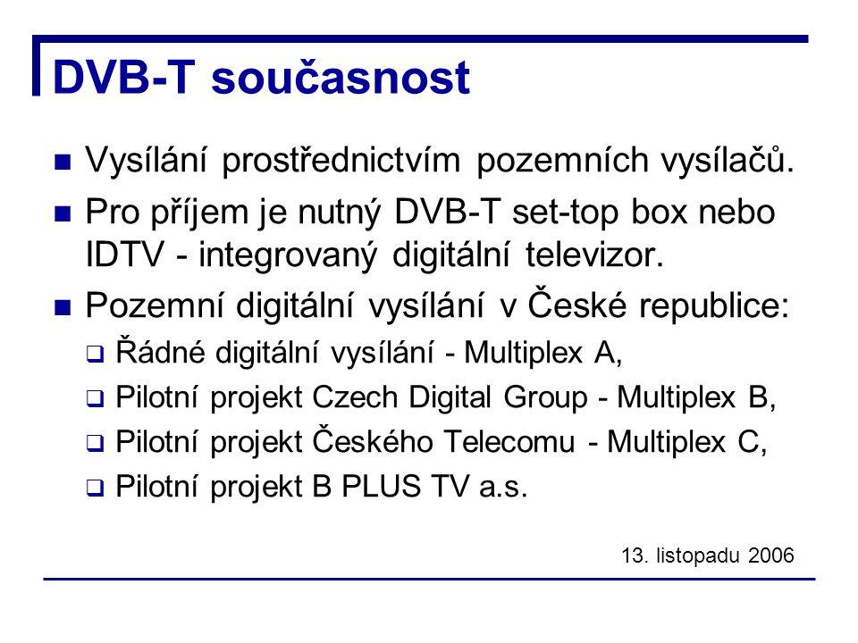 DVB-T současnost Vysílání prostřednictvím pozemních vysílačů.