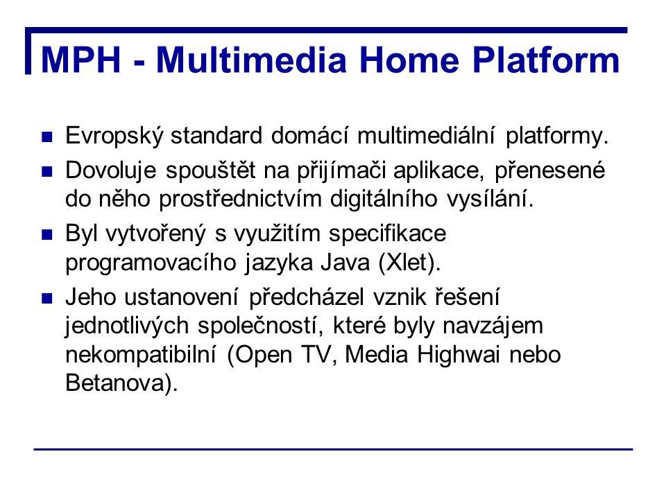 MPH - Multimedia Home Platform Evropský standard domácí multimediální platformy.