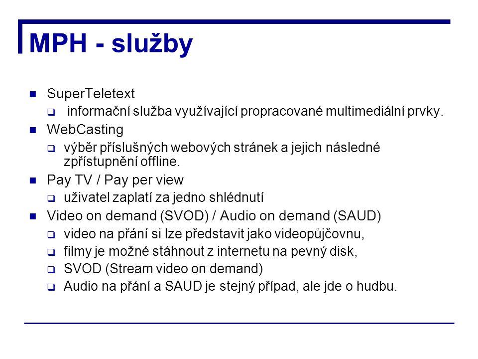 MPH - služby SuperTeletext  informační služba využívající propracované multimediální prvky.