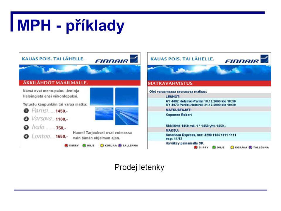 MPH - příklady Prodej letenky