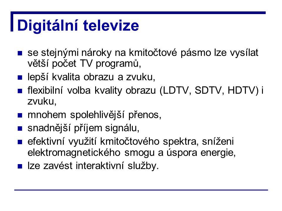 Digitální televize se stejnými nároky na kmitočtové pásmo lze vysílat větší počet TV programů, lepší kvalita obrazu a zvuku, flexibilní volba kvality obrazu (LDTV, SDTV, HDTV) i zvuku, mnohem spolehlivější přenos, snadnější příjem signálu, efektivní využití kmitočtového spektra, sníženi elektromagnetického smogu a úspora energie, lze zavést interaktivní služby.