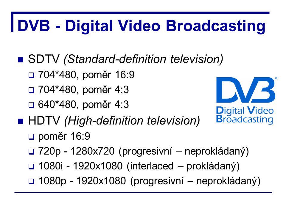 DVB - Digital Video Broadcasting SDTV (Standard-definition television)  704*480, poměr 16:9  704*480, poměr 4:3  640*480, poměr 4:3 HDTV (High-definition television)  poměr 16:9  720p - 1280x720 (progresivní – neprokládaný)  1080i - 1920x1080 (interlaced – prokládaný)  1080p - 1920x1080 (progresivní – neprokládaný)