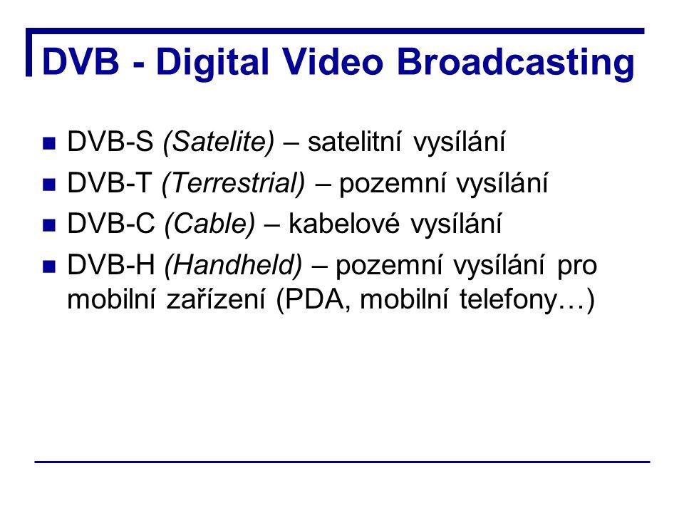 DVB - Digital Video Broadcasting DVB-S (Satelite) – satelitní vysílání DVB-T (Terrestrial) – pozemní vysílání DVB-C (Cable) – kabelové vysílání DVB-H (Handheld) – pozemní vysílání pro mobilní zařízení (PDA, mobilní telefony…)
