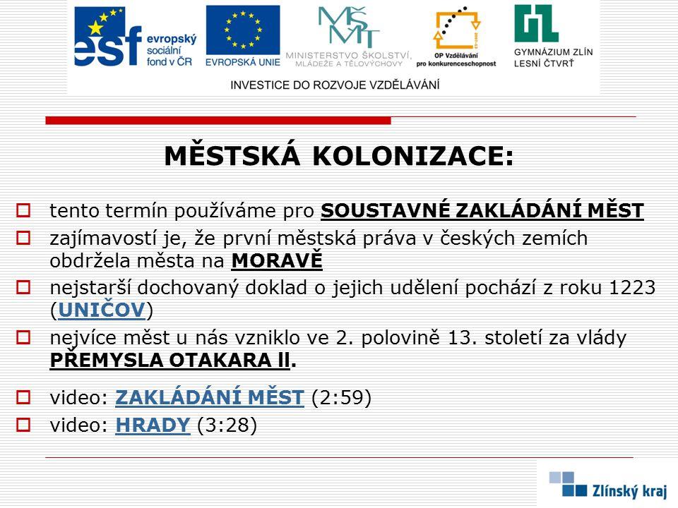 MĚSTSKÁ KOLONIZACE:  tento termín používáme pro SOUSTAVNÉ ZAKLÁDÁNÍ MĚST  zajímavostí je, že první městská práva v českých zemích obdržela města na