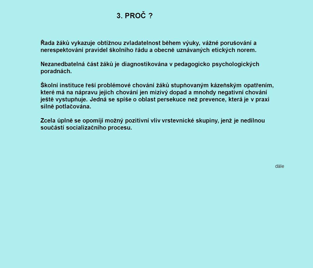 3. PROČ ? Řada žáků vykazuje obtížnou zvladatelnost během výuky, vážné porušování a nerespektování pravidel školního řádu a obecně uznávaných etických