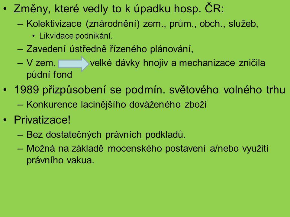 Změny, které vedly to k úpadku hosp. ČR: –Kolektivizace (znárodnění) zem., prům., obch., služeb, Likvidace podnikání. –Zavedení ústředně řízeného plán