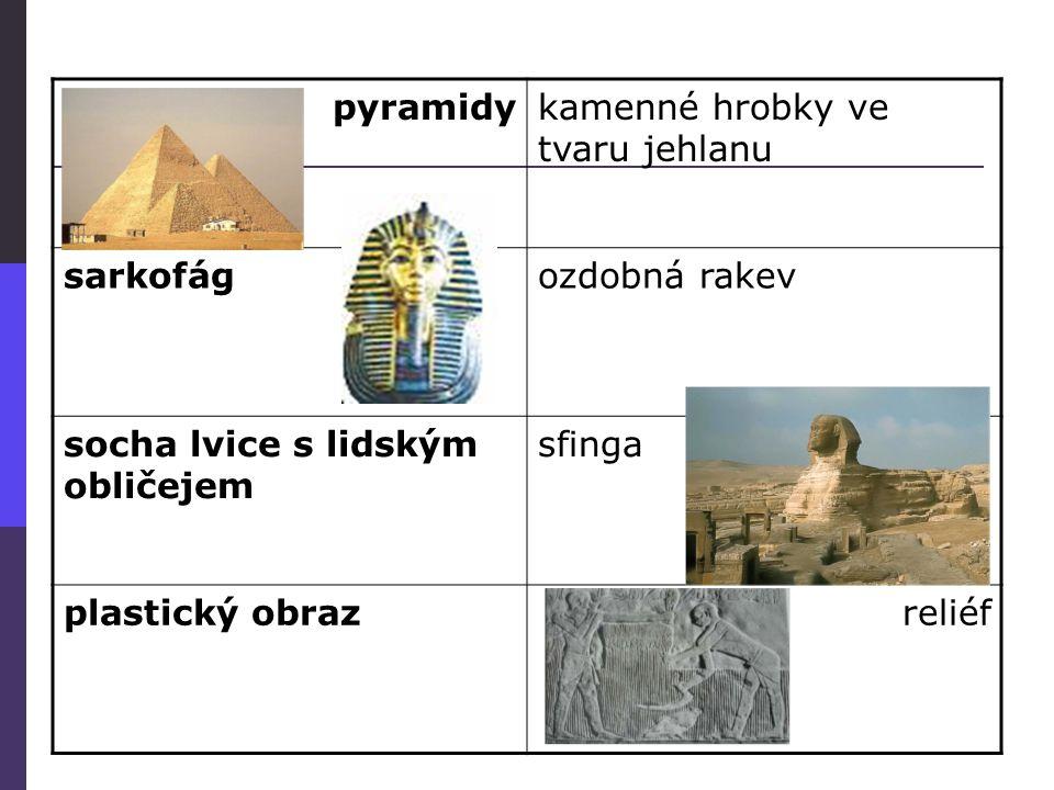 pyramidykamenné hrobky ve tvaru jehlanu sarkofágozdobná rakev socha lvice s lidským obličejem sfinga plastický obrazreliéf