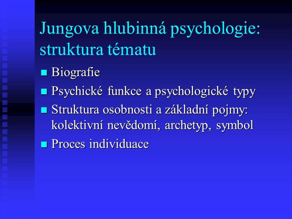 Jungova hlubinná psychologie: struktura tématu Biografie Biografie Psychické funkce a psychologické typy Psychické funkce a psychologické typy Struktu