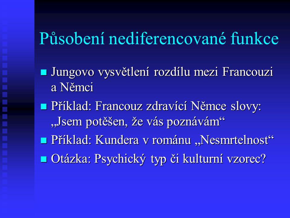Působení nediferencované funkce Jungovo vysvětlení rozdílu mezi Francouzi a Němci Jungovo vysvětlení rozdílu mezi Francouzi a Němci Příklad: Francouz