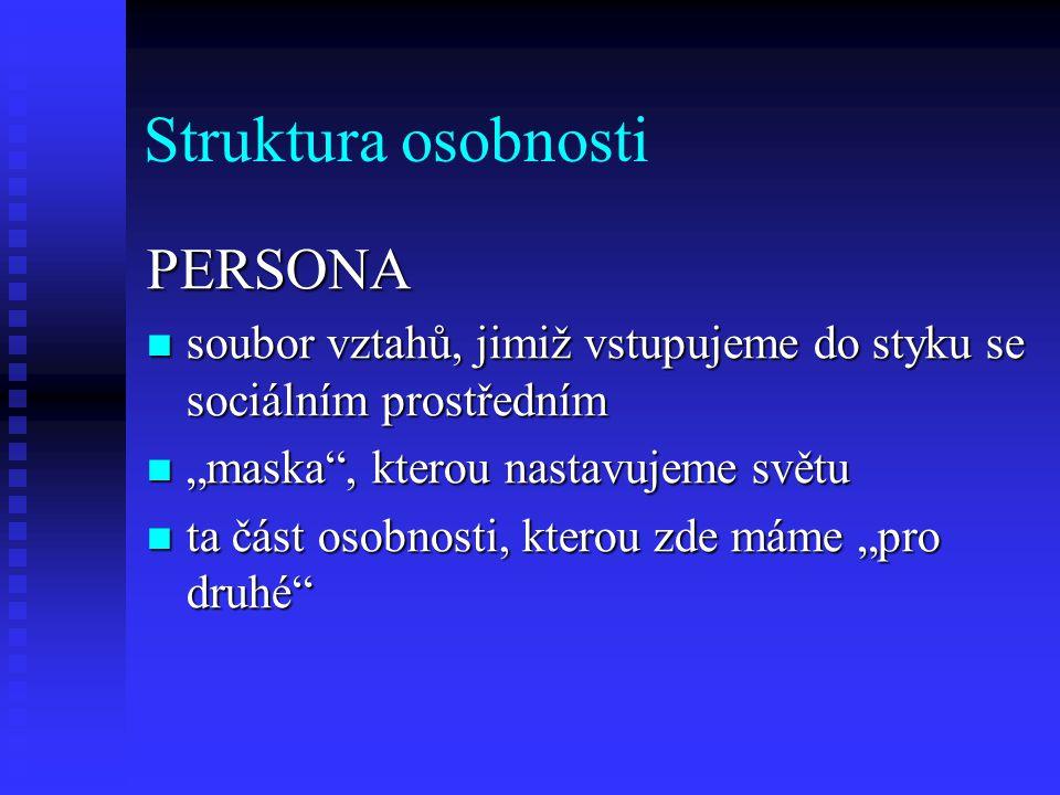 Struktura osobnosti PERSONA soubor vztahů, jimiž vstupujeme do styku se sociálním prostředním soubor vztahů, jimiž vstupujeme do styku se sociálním pr