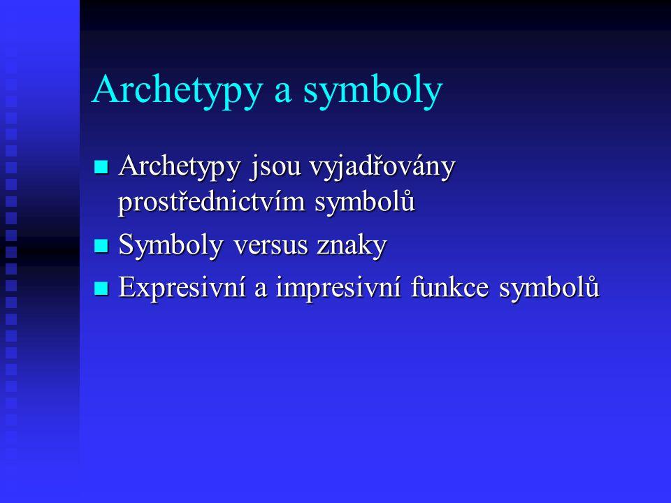 Archetypy a symboly Archetypy jsou vyjadřovány prostřednictvím symbolů Archetypy jsou vyjadřovány prostřednictvím symbolů Symboly versus znaky Symboly