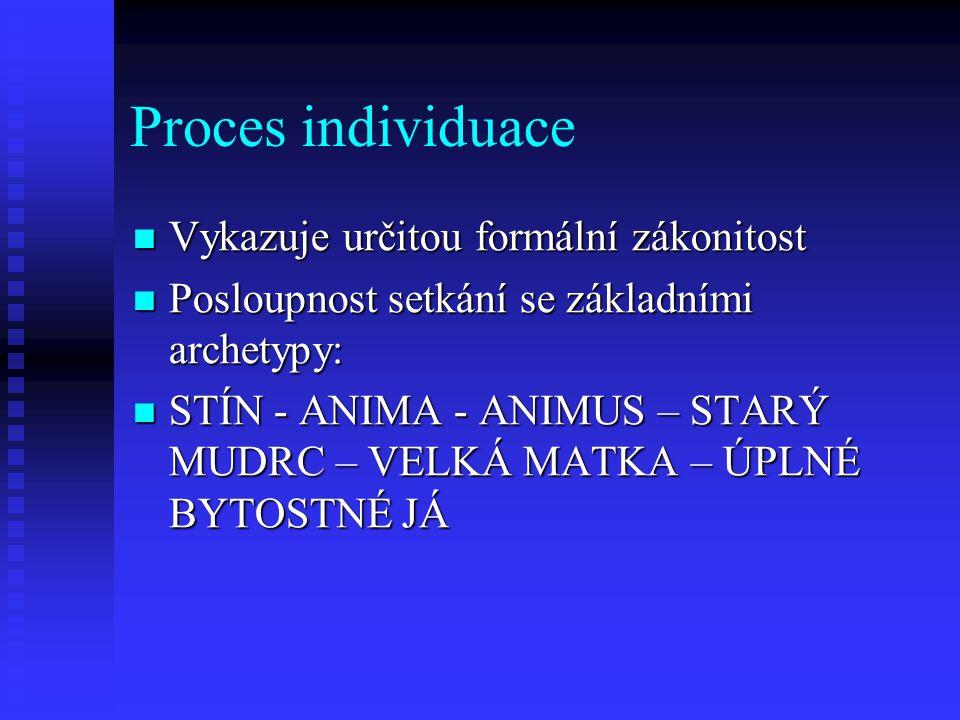 Proces individuace Vykazuje určitou formální zákonitost Vykazuje určitou formální zákonitost Posloupnost setkání se základními archetypy: Posloupnost