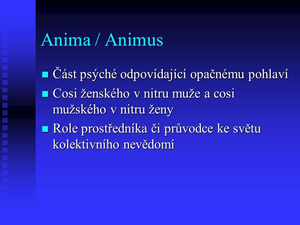 Anima / Animus Část psýché odpovídající opačnému pohlaví Část psýché odpovídající opačnému pohlaví Cosi ženského v nitru muže a cosi mužského v nitru