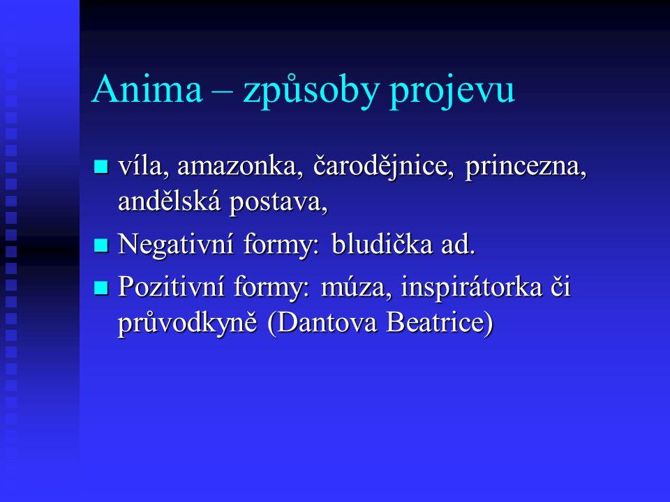 Anima – způsoby projevu víla, amazonka, čarodějnice, princezna, andělská postava, víla, amazonka, čarodějnice, princezna, andělská postava, Negativní
