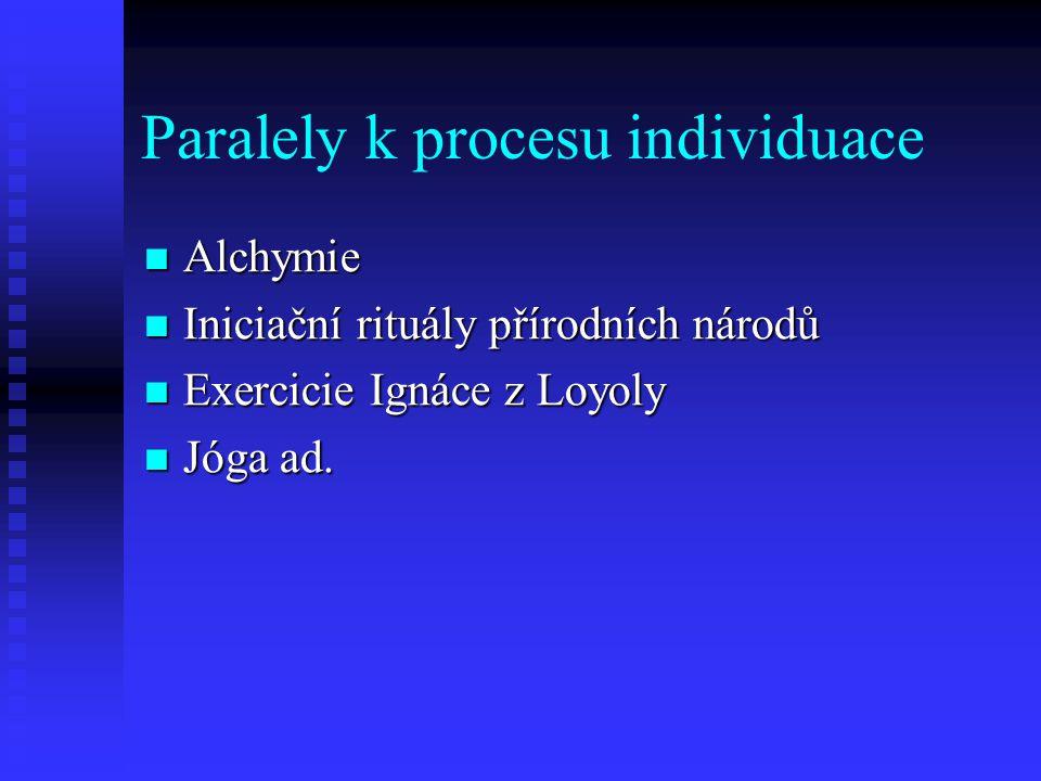 Paralely k procesu individuace Alchymie Alchymie Iniciační rituály přírodních národů Iniciační rituály přírodních národů Exercicie Ignáce z Loyoly Exe