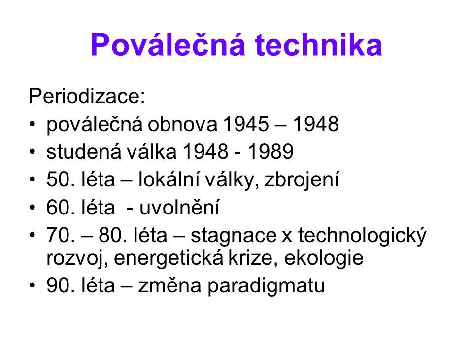 Poválečná technika Periodizace: poválečná obnova 1945 – 1948 studená válka 1948 - 1989 50.